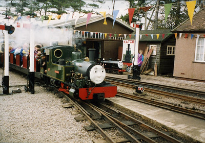 "Bonnie Dundee, ""La'al Thomas"", in tank engine form, arrives at Ravenglass, alongside Blacolvesley, October 1994."