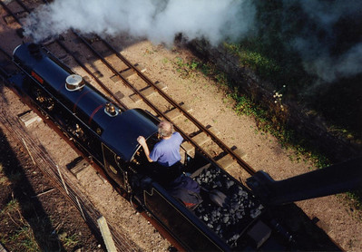 River Esk on the workshop siding, with driver Peter van Zeller on the footplate.