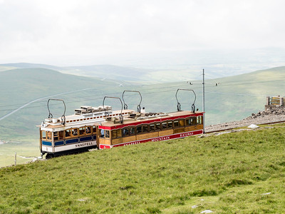 Trams passing at Snaefell Summit