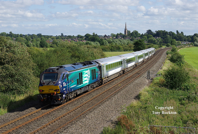 68008 propels the 1H53 14:55 Birmingham Moor Street - London Marylebone past Kings Sutton on Thursday 17th August 2017.