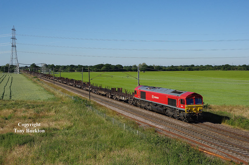 With a lengthy rake of well mixed empty steel wagons in tow forming the  13:19 Lackenby BSC - Scunthorpe BSC Entrance C, 66101 approaches Joan Croft Junction at 17:44 on Wednesday 27th June 2018.