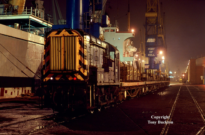 08597 shunts BDA's loaded with steel onto No1 Quay, Hull King George Dock one evening during the last week of November 1997 – unfortunately my notes are missing as to exact date on this series of shots taken in the dark.