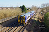 158908 forms the 1J23 08:08 Bridlington - Sheffield as it approaches Goole on Thursday 9th March 2017.