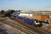 43010 leads with 43190 bringing up the rear of Hull Trains 1A95 15:31 Hull - Kings Cross service  as the shortened HST set passes Hessle Road Junction a few mins into its journey on Saturday 16th February 2019.