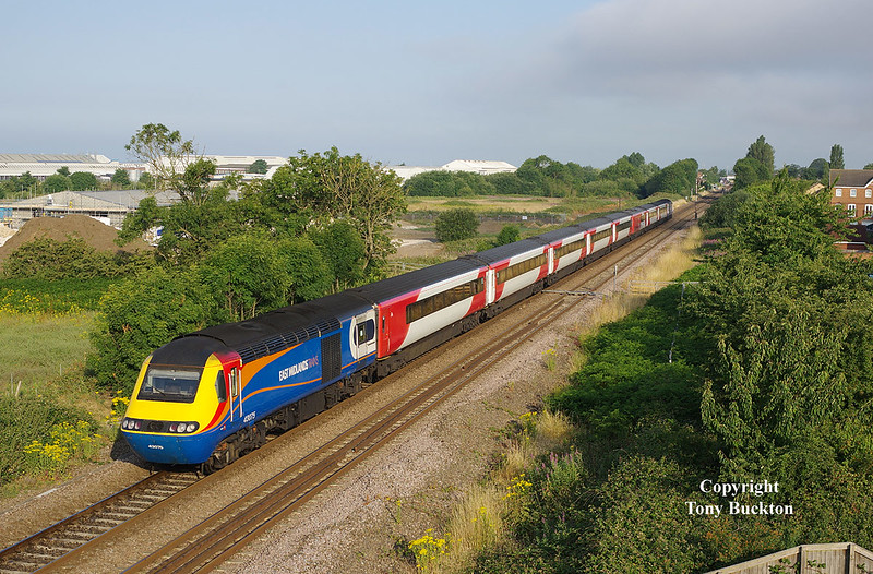 43075 brings up the rear of the 1A12 07:00 Hull Kings Cross as it approaches Brough at 07:11 on Thursday 5th July 2018.