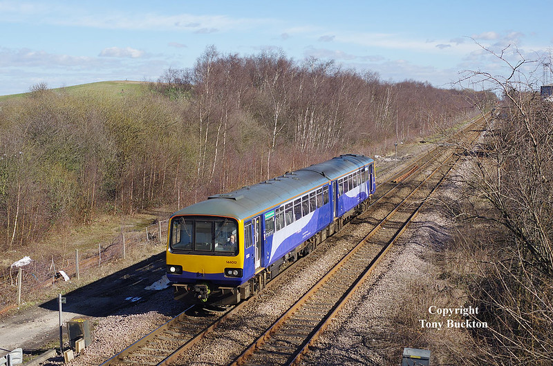 144012 is seen following a reversal at Skellow Jnc at 12:47 on Thursday 9th March 2017 forming the 5R82 12:43 Adwick to Adwick.