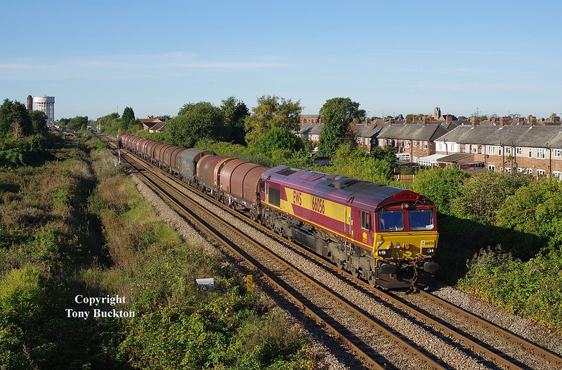66056 has just passed Goole Station with the 08:16 Masborough F.D. - Hedon Road Sidings (Hull) at 09:29 on Friday 6th October 2017.