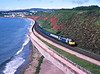 47646 is seen on a Northbound parcel train at	Dawlish.<br /> 01/07/1988