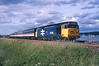 50021 heads a Southbound express  past	Starcross.<br /> 01/07/1988