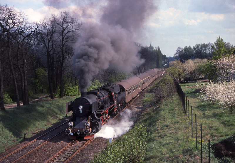 A trip to Poland with the Warwickshire railway society to see the last days of normal steam operation in Poland here Ty42 148 leaves Wolstyn on a service train for Sulechov.<br /> 17/04/1990