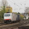 <b>22-Oct-2008</b>  The German line KBS480 between Aachen and Cologne (Köln) provides an interesting variety of traffic. The town of Eschweiler used to be a hotbed of coal mining and other industrial activity in times gone by, but almost nothing remains. What does remain, though, is the last set of manned crossing gates on this line, the operation of which is controlled by the operator in Ehf tower.  Here a westbound intermodal train operated by the newly-formed consortium of Belgian operator DLC and Swiss/German operator Crossrail passes the tower and swings around the curve leading up to Eschweiler Hbf train station.  This spot is an excellent day-round location for both east- as well as westbound trains.  <i>Crossrail 185 578 with the Ewals train DGS 40162 (Novara - Genk) in Eschweiler.</i>