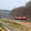 <b>4-Apr-2009</b>  The weekend of the 5th of April the L24 was shut down for trackwork and trains were diverted via the L39 and L37 Montzen - Welkenraedt - Aachen Süd - Aachen Hbf and return. Even though the class 225 diesels have not been around since December 2008, they are still the only class of engine save for the class 66 that was usable for the detours. Good thing Cobra spends millions on the Traxx lease...  Anway, here's a trio of 225s heading for Montzen to pick up the first train of the day. One 225 will lead towards Germany while the two others will shove on the rear. The area here shows evidence of the massive earthwork undertaken when the old flyover and connection to the L24a was removed the previous year.  <i>225 029 with 225 027 and 225 028 in tow south of the Buschtunnel.</i>