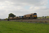 66006 + 66199 on 3S13 Westbury - St Blazey heads away from Silverton on 14-10-11, typically full sun arrived at 1300!