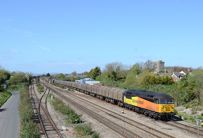 56302 working 6Z30 1130 Llanwern ~ Long Marston passes Magor 14/04/14 running slightly early...