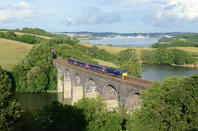 The summer local hauled service using the sleeper stock is now in full swing, Currently 57605 is the only FGW 57 that is available to work the service and is seen here crossing Forder Viaduct with 2C51 1750 Exeter St Davids ~ Penzance 28-06-14 at 1922