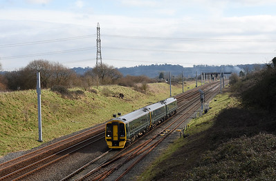 158956 1F12 0923 Portsmouth Harbour~Cardiff Central passes Pilning 1215