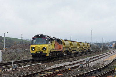 70805 6C22 0906 Exeter - Truro load 10 autoballasters, dep Riverside Yard 112‎3, a tad late ‎