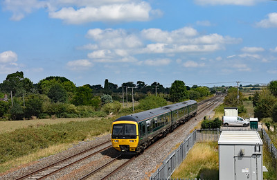 166214 approaches Taunton, seen at Cogload Jct with  2C73 1100 Cardiff Central - Taunton