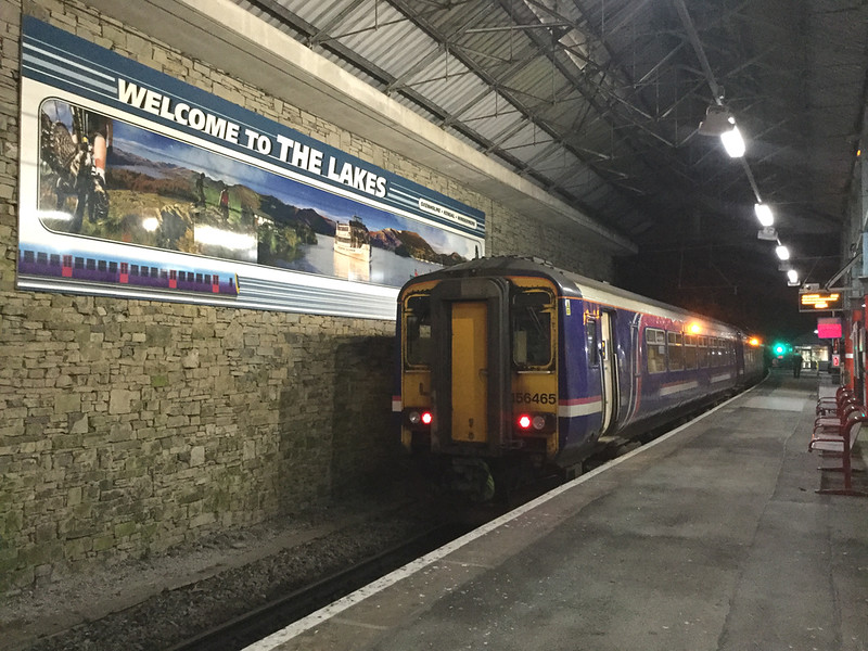 Scottish castoffs come on stream........<br /> Recently transferred from Scotrail, battle scarred 156465 stands in plat3 at Oxenholme waiting to depart with the 17:45 strike day service to Windermere, 5/2/2019.