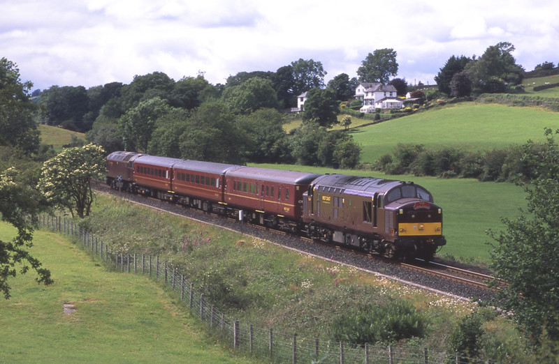 37669 with 57316 on the rear are seen near Burneside with the 15:30 Windermere - Oxenholme rail replacement rail service, 20/6/2018.