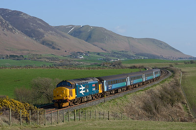 With a trace of snow on Black Coombe, 37402 hauls the 14.37 Barrow-Carlisle near Bootle 23/3/17.