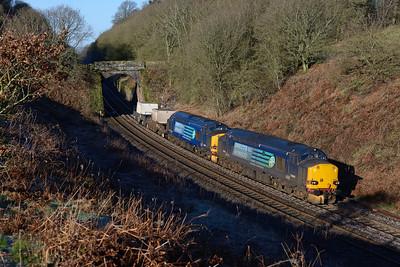 37602 + 37606 haul the Seaton bound flasks near Brampton 24/3/17.