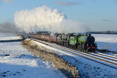 "61306 ""Mayflower"" and 35018 ""British India Line"" approach Kirkby Stephen with a Winter Cumbrian Mountain Express on 2/2/19."