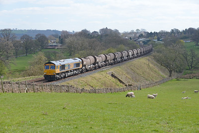"66741 ""Swanage Railway"" hauls the Wembley-Irvine tanks at Lazonby on 10/4/19."
