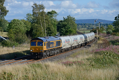 66716 hauls the Clitheroe-Mossend cement past Settle Junction on 10/8/18.