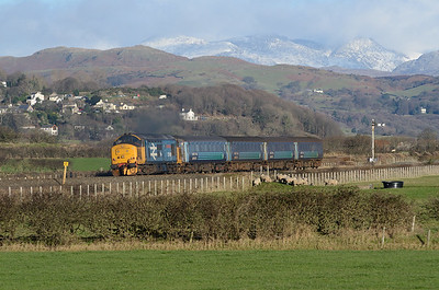 37401 propels the 08.42 Carlisle-Barrow away from Millom 14/1/17.