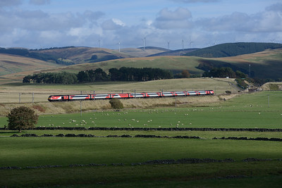 The diverted 08.00 Kings Cross-Aberdeen HST is seen north of Crawford on 6/10/18
