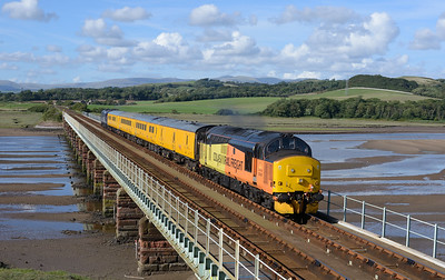 37421 + 37612 top & tail the monthly Carlisle-Blackpool measurement train over Eskmeals viaduct on 9/8/18.