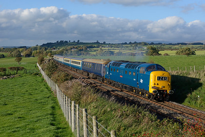 "In lovely light D9009 ""Alycidon"" passes Langwathby with a Pathfinder Carlisle-Willington charter, 29/9/18."