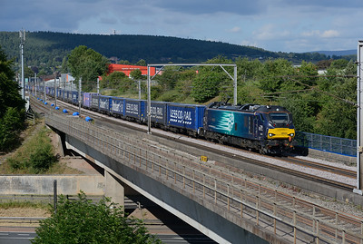 "The Sunday Tesco train passes Penrith hauled by 88005 ""Minerva"" on 8/7/18."