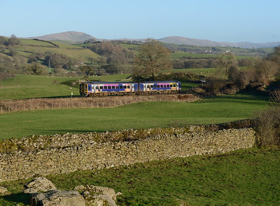 158790 passes Bowston with the 14.00 Oxenholme-Windermere on 1/1/19.