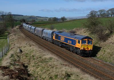 66755 hauls an Arcow-Bredbury stone train near Long Preston 9/3/17.