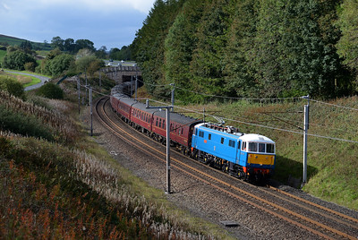 "A lucky patch of sun on 86259 ""Peter Pan"" passing Beckfoot with a Euston-Carlisle steam charter 29/9/18."