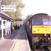 47826 stands on the blocks at Windermere with 47851 on the front as they prepare to depart with the 18:37 to Oxenholme, 20/4/2019.