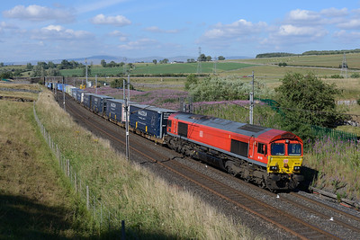 66185 passes Shap Beck with Grangemouth-Daventry containers on 14/7/18.