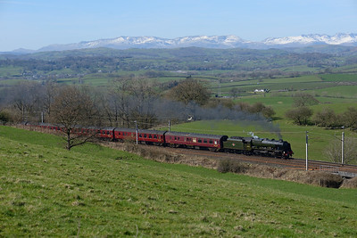 "46115 ""Scots Guardsman"" hauls a ""Winter Cumbrian Coast Express"" at Hayfell on 25/3/17."