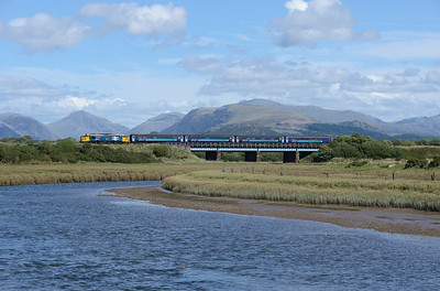Great Gable is in the distance as 37401 crosses the river Irt with the 12.08 Carlisle-Barrow on 9/8/18.