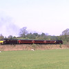 47851 brings up the rear as 47826 powers away from Burneside Lower Crossing on the first trip of the Easter Lakelander service, 20/4/2019.