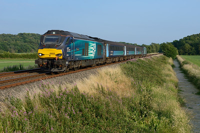 The Cumbrian Coast class 68 set ran empty from Carlisle-Barrow via Shap on the evening of 6/7/18; 68003 & 68017 are seen at Black Dyke.