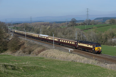 """57312 """"Solway Princess"""" hauls a Crewe-Carlisle-Liverpool Northern Belle at Great Strickland 26/3/17;  57310 is on the rear."""