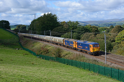 "73141 + 73107 bring up the rear of the GBRf ""Out of the ordinary"" tour as it passes Hardrigg hauled by 86639 + 86637 on 23/9/18."