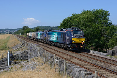 """88006 """"Juno"""" & 88001 """"Revolution"""" pass Meathop with the late running Sellafield-Crewe flasks on 7/7/18."""