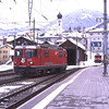 Having arrived at Disentis/Mustér with RE1240 the 12:40 from Scuol-Tarasp 623 now runs round to return with RE1165 the 16:44 back to Scuol-Tarasp while 704  having arrived with 6243 the 12:40 freight from Landquart waits in the siding to work 5264 the 17:53 freight back to Landquart.<br /> Here the RhB connects with the Matterhorn Gotthard Bahn, passengers change between the two railways trains and freight traffic is exchanged, 6/2/2012.