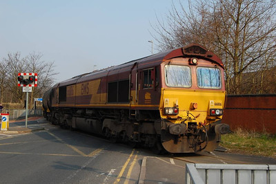 66186 blocking the whole of Strand Road in Preston with 14 empty bitumen tanks on 10th April 2013.