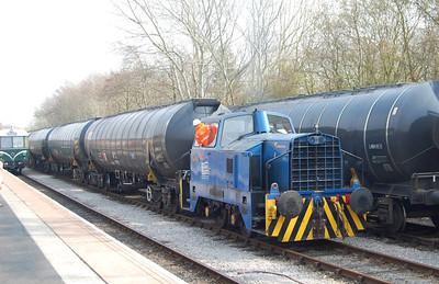 """Enterprise"" propelling the 7 full bitumen tanks  from Preston Riverside to the Total discharge point."