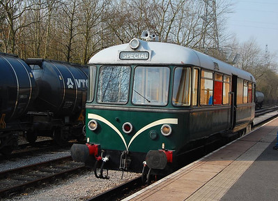 The purpose of the visit to the RIbble Steam Railway was the chance to ride E79960, a Waggon & Maschinenbau railbus built in 1958. Here it is at Preston Riverside, with the loaded bitumen tanks behind.